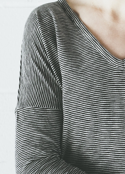Rag & Bone Theo Long Sleeve Tee | Black Stripe