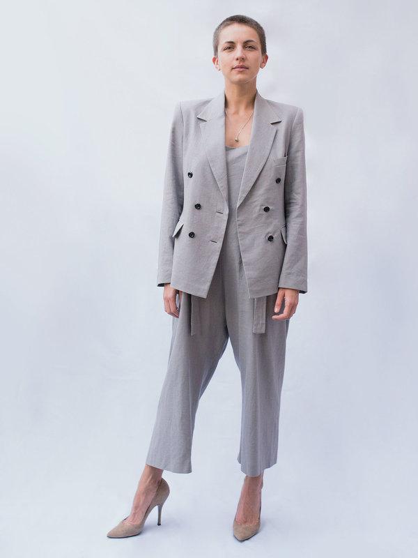 Lera pivovarova linen frida jacket in grey cloud