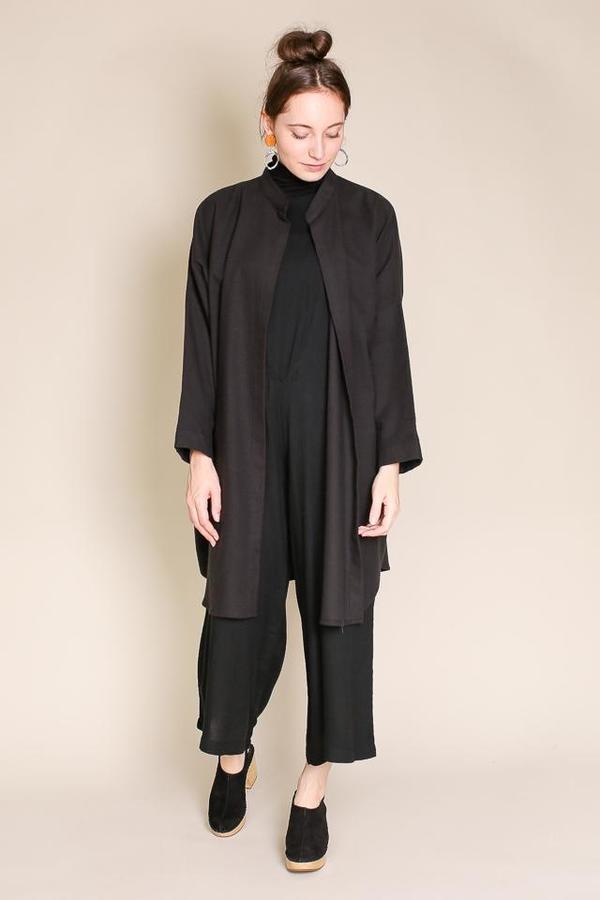 Black Crane Long Square Shirt in Black