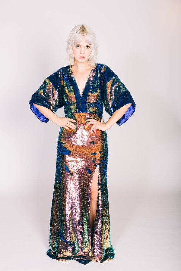 Any Old Iron Oil Slick Kimono Gown | Garmentory