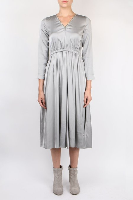 Giada Forte Satin V Neck Dress - Perla