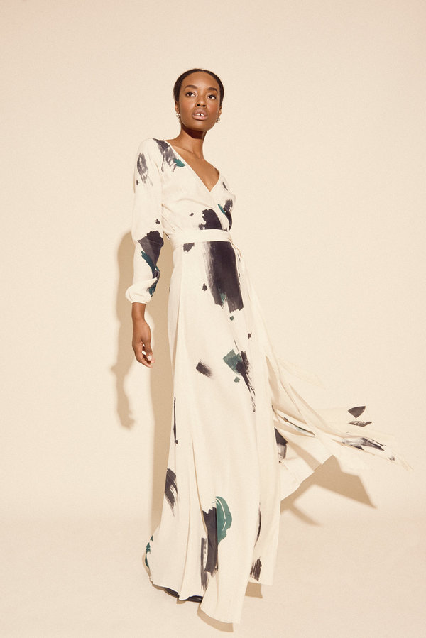 Kamperett Linden Hand Painted Silk Wrap Dress