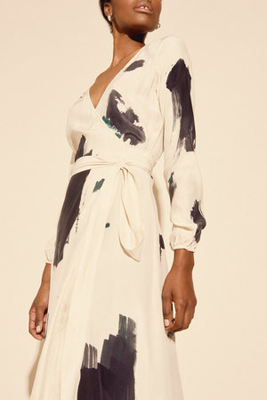 Kamperett Linden Hand Painted Silk Wrap Dress