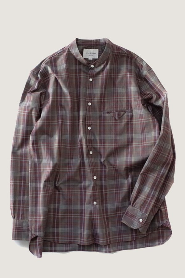 Still By Hand Banded Collar Shirt - Wine