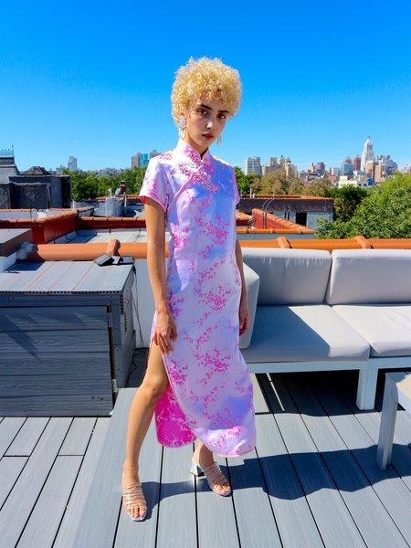 Vintage HOH Curate Silk Mandarin Dress - Bright Pink Floral