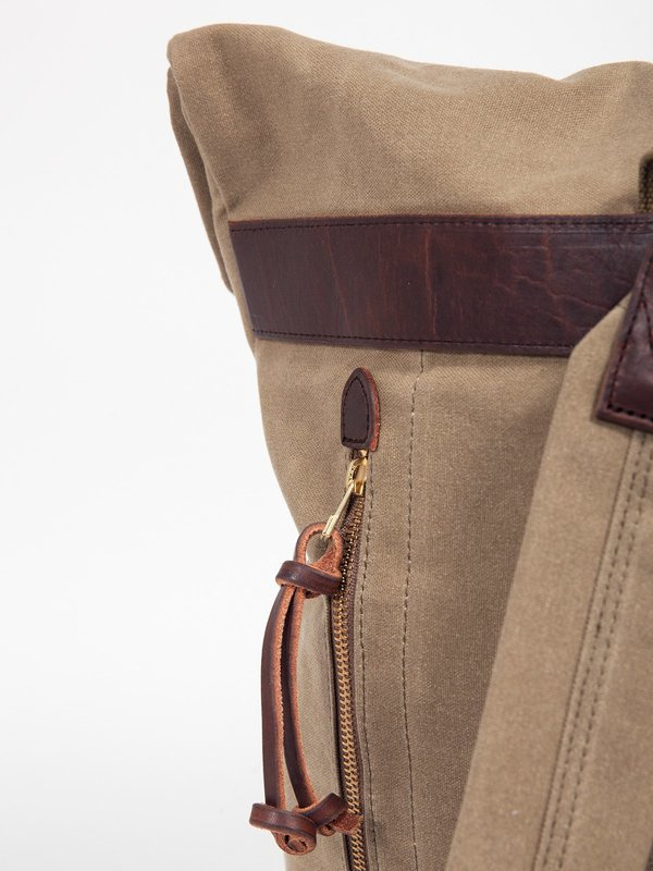 Slow Old Canvas Roll Top Rucksack - Tan