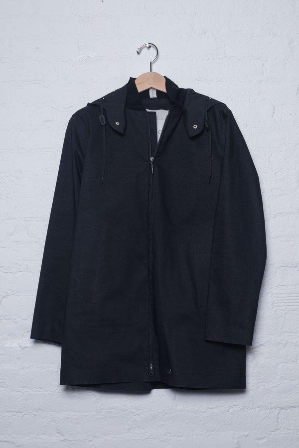 Hancock Vulcanized Cotton Hooded Raincoat - Black/Taupe