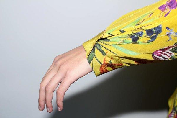 Strathcona Yellow Tulip Garden Unisex Silk Dress Shirt - Online Only