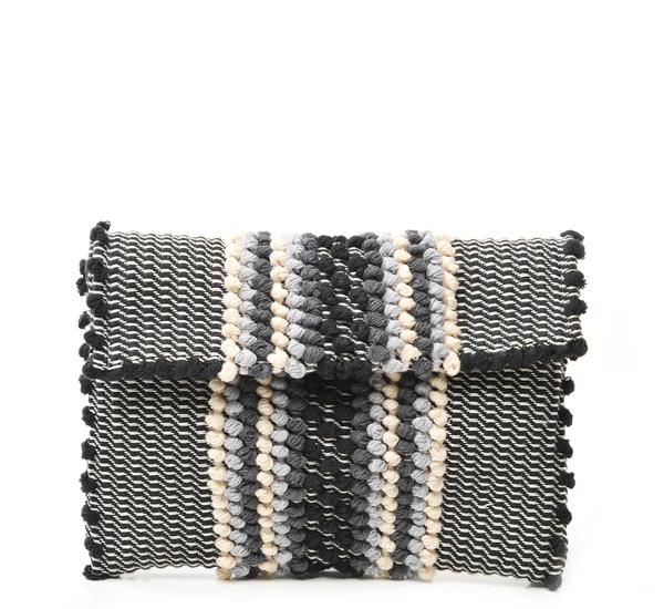 Antonello Jerru Black Striped Clutch