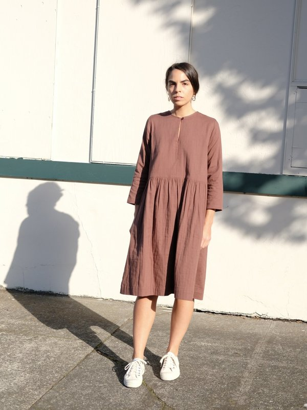 Wrk-Shp Studio Button Dress in Cocoa Cotton Gauze
