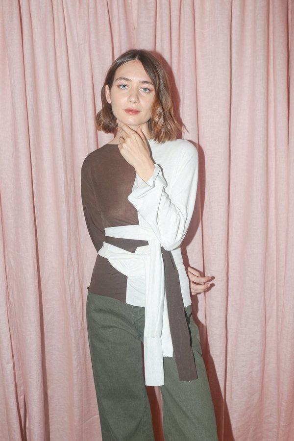 Maryam Nassir Zadeh Gamma Top in Brown/White