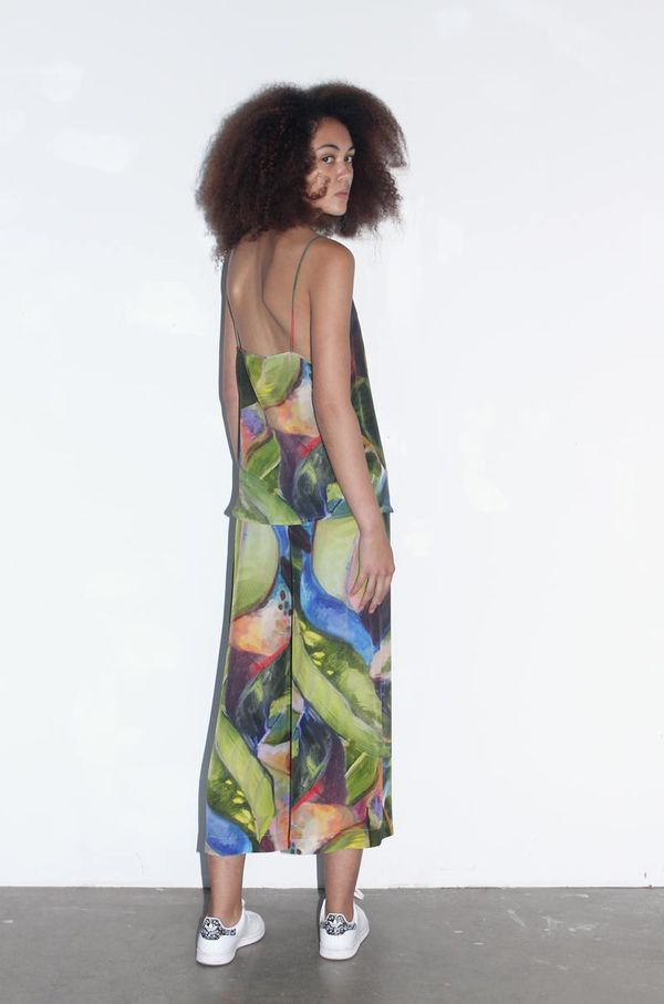 Strathcona Painted Palm Silk Culotte Pant - Online Only