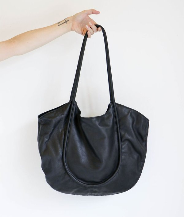 Modern Weaving Unstructured Carry All in Black Leather