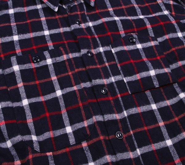 Engineered Garments Work Shirt - Navy/White Plaid Flannel