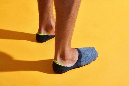 Mr. Gray 2 Tone Melange Yarn Loafer Sock - Olive/Charcoal/Blue