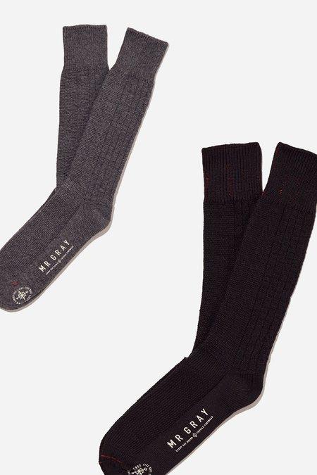 Mr. Gray Custom Aran Knit Pattern Sock - Charcoal Heather + Black