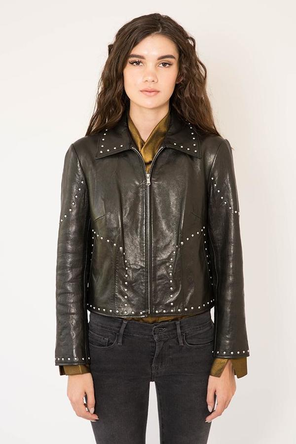 FRAME Denim Studded Leather Jacket