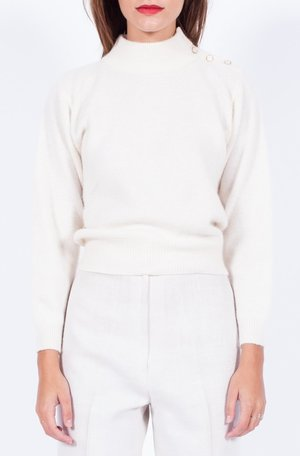 Yo Vintage! Cream Lambswool Sweater - Small/Med