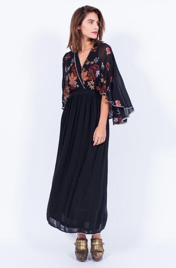 Yo Vintage! Black Sheer Embroidery Dress - Small/Med