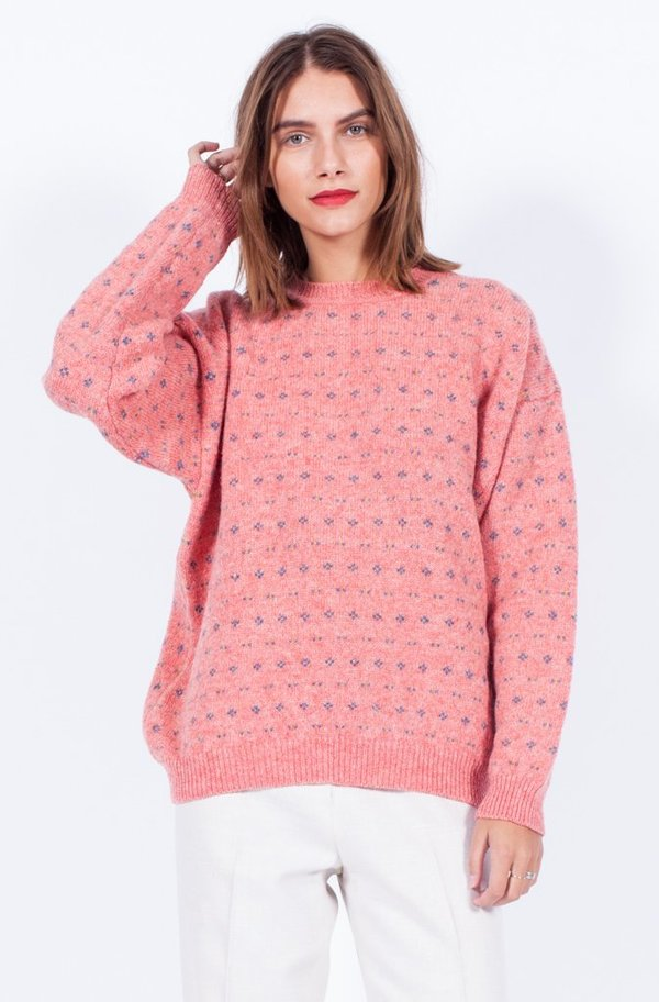 Yo Vintage! Pink Knit Floral Sweater - Small/Med