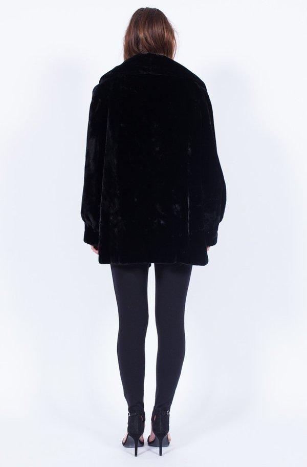 Yo Vintage! Black Faux Fur Coat - Medium
