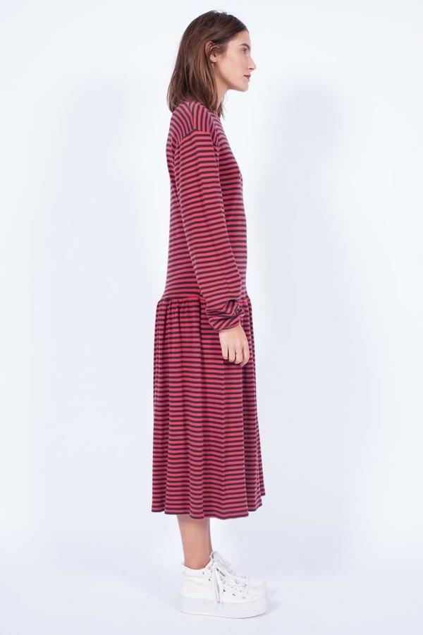 Yo Vintage! Jersey Striped Cotton Dress - Med
