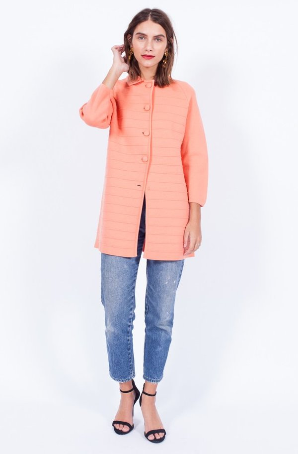 Yo Vintage! Peach Wool Coatigan - Small