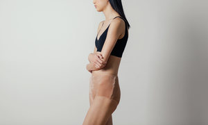 Baserange Velour Highwaisted Bell Pants in Nude