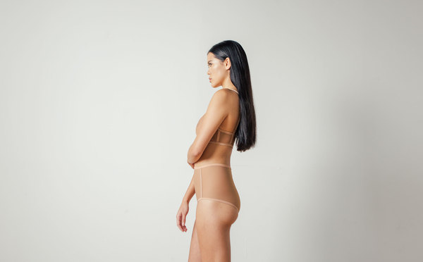 Land of Women Mesh Highwaisted Brief in Warm Nude