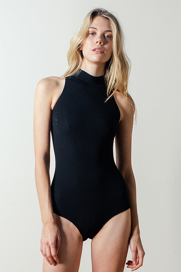 Land of Women Mock-neck Bodysuit in Black  4315bf672f83
