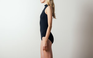Land of Women Mock-neck Bodysuit in Black