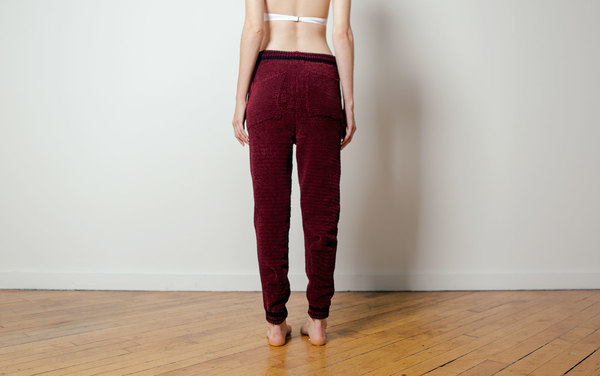 giu giu Chenille Track Pant in Oxblood and Onyx