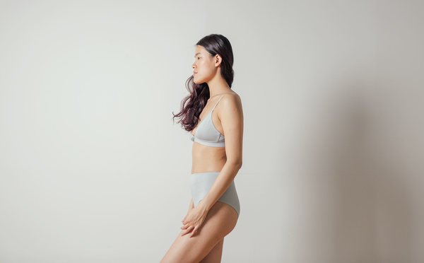 The Nude Label Triangle Bra in Smoky Blue