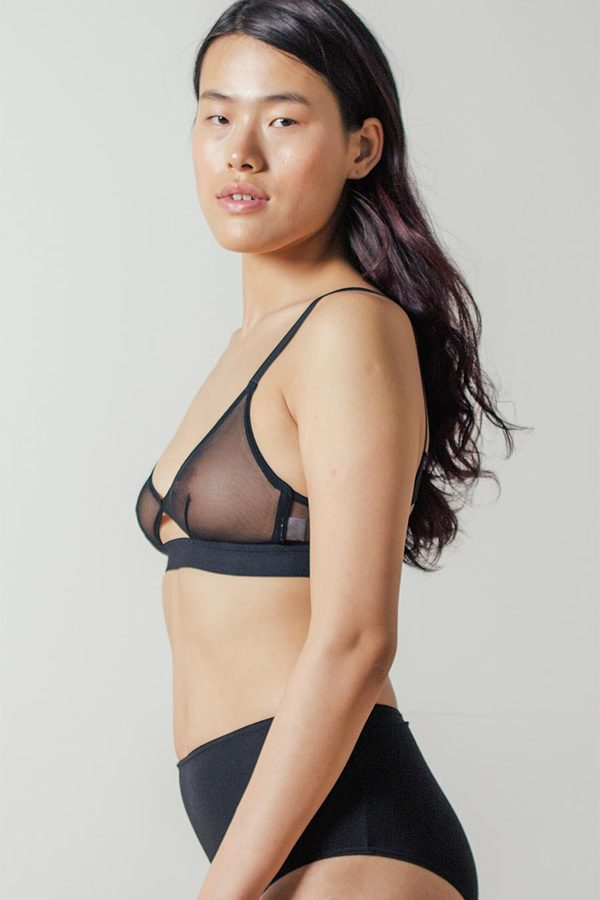 The Nude Label Sheer Cut-out Bra in Black
