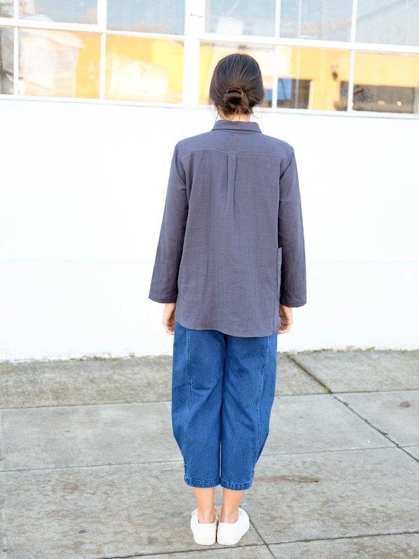 Wrk-Shp Atelier Top in Storm Blue Cotton Gauze