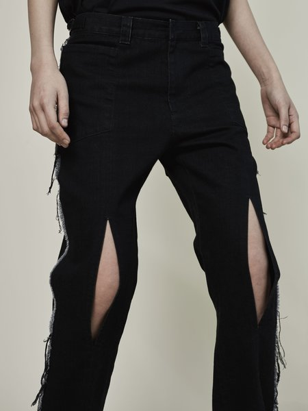 Rask Fray Slit Pant - black