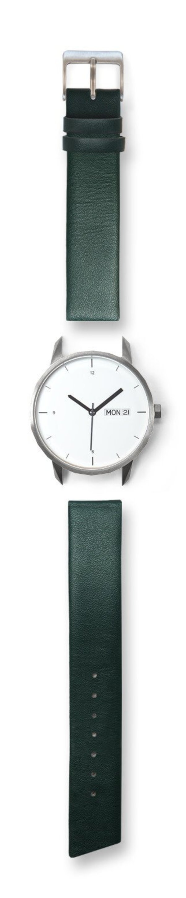 Tinker Watches Quick Release Strap Silver Watch - Green