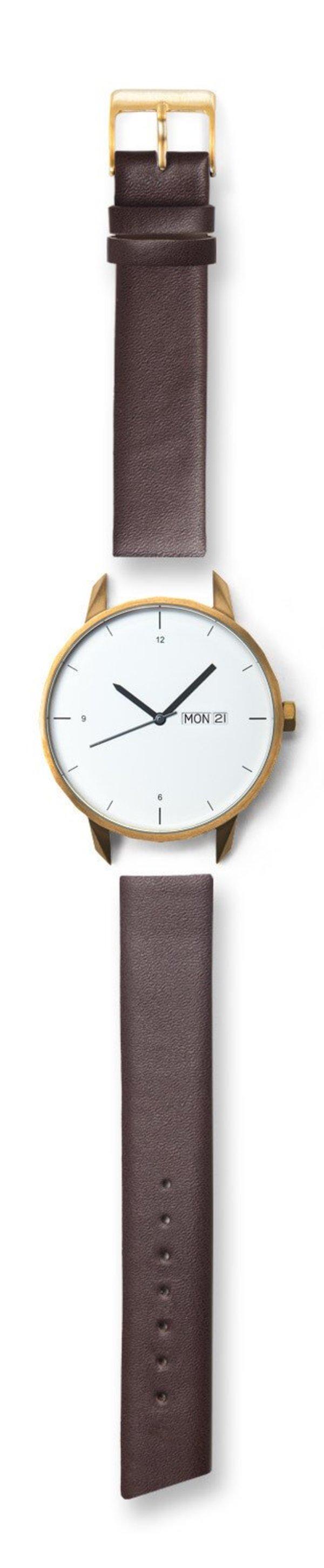 Unisex Tinker Watches 42mm Gold Watch Brown Strap