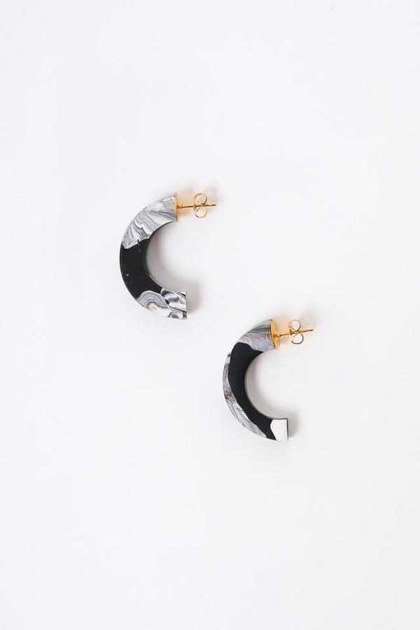 Peppertrain The Crescent Earring in Black/White Swirl