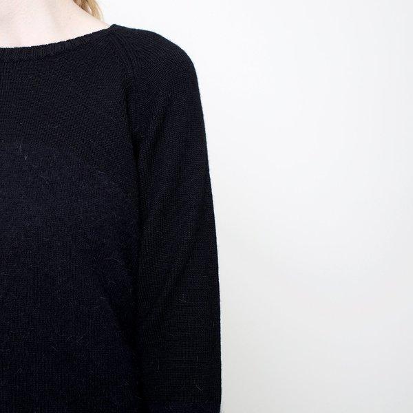 7115 by Szeki Angora Blocked Cropped Sweater - Black FW17
