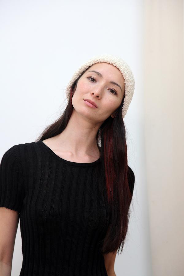 Textured Wool Hat Cream