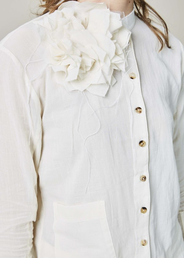 Aleksandr Manamis Long Bias Shirt with Flower