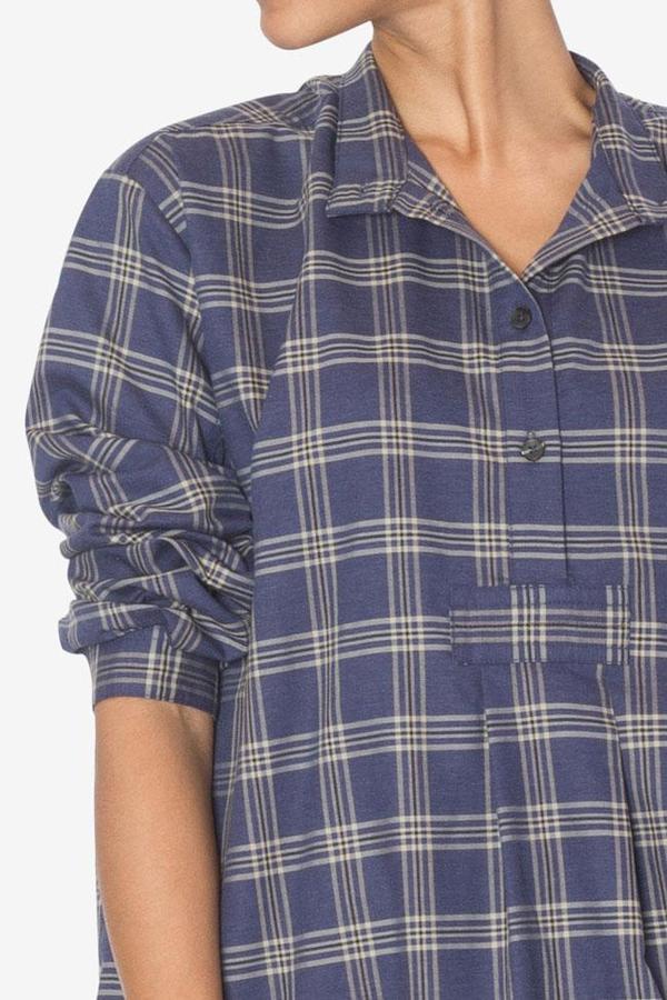 The Sleep Shirt Long Sleep Shirt Navy and Tan Plaid