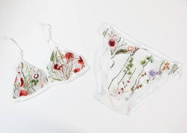 Jordan de Ruiter Embroidered Triangle Bralette - White Floral
