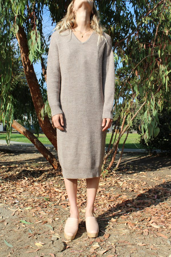 Micaela Greg V-Neck Dress - Camel