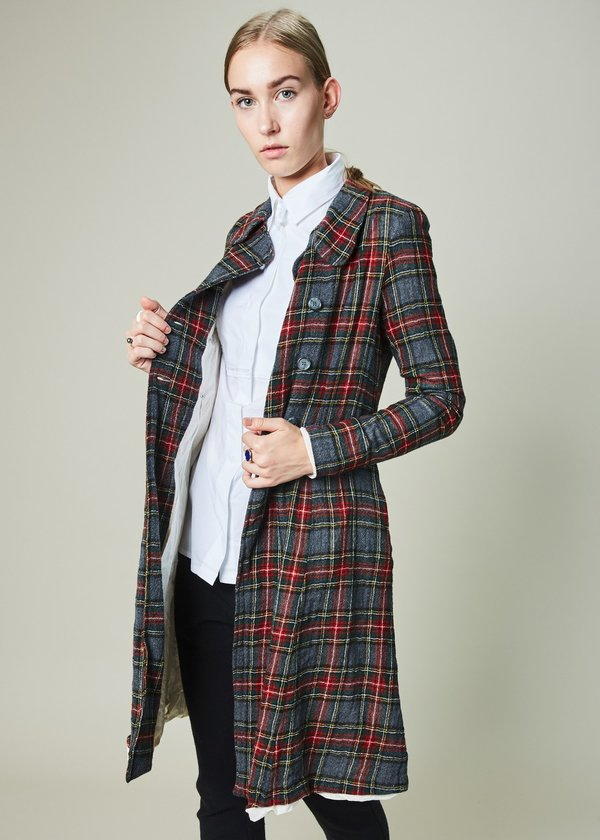 Hazel Brown Fitted Plaid Coat