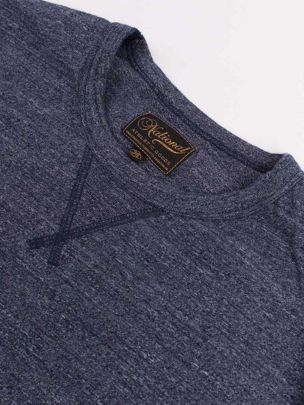 National Athletic Goods Long Sleeve Gym Tee 7oz Mock Twist - Navy