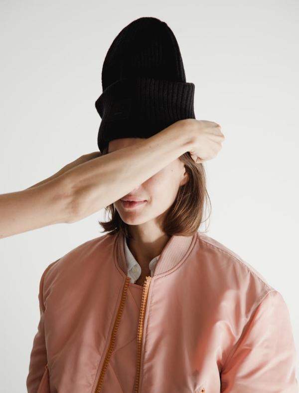 Acne Studios Mens Pansy Knit Hat Black