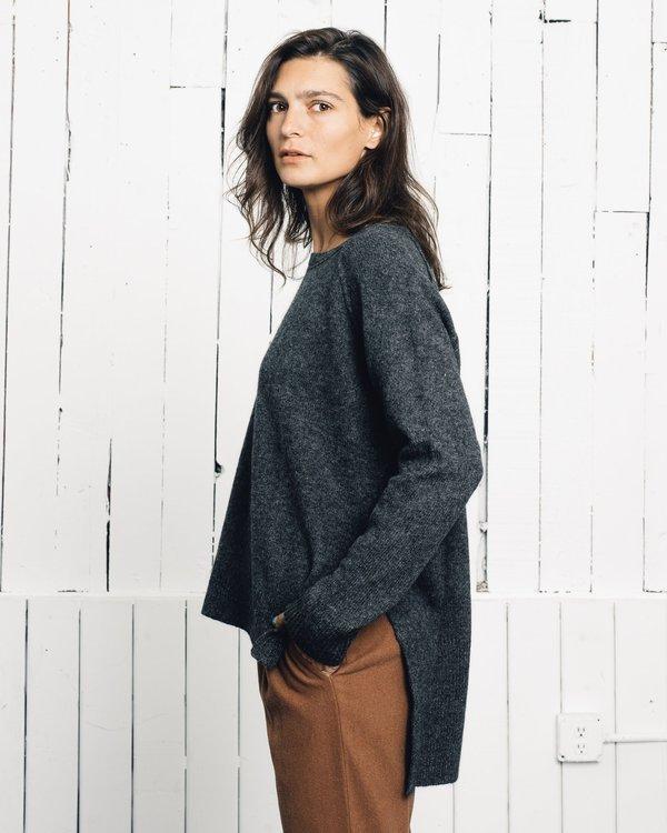 7115 by Szeki Classic Exposed Seams Sweater - Gray