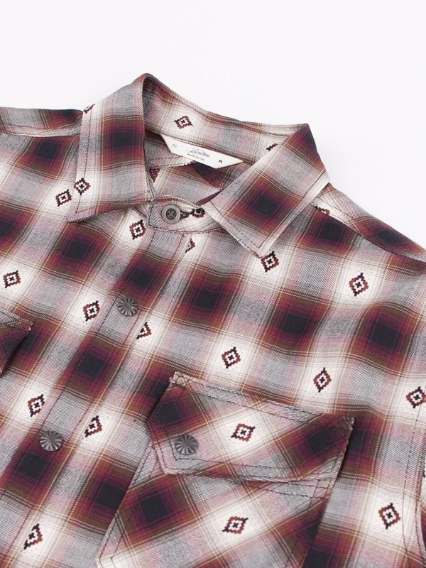 3Sixteen Crosscut Flannel - Red Jacquard Plaid